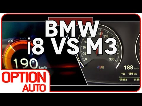 0 200 km h bmw i8 vs m3 option auto youtube. Black Bedroom Furniture Sets. Home Design Ideas