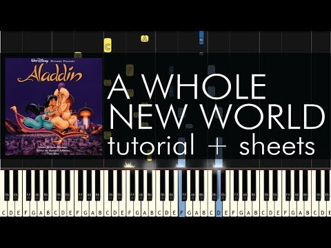 Aladdin  A Whole New World  Piano Tutorial + Sheets