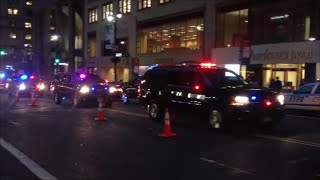 NYPD & United States Secret Service Escorting A Motorcade With Lots Of Siren Action In Manhattan