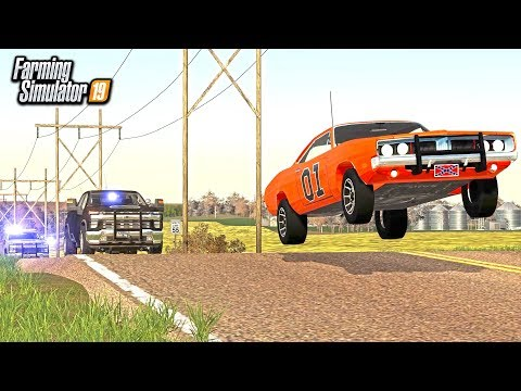 DUKES OF HAZARD! RUNNING FROM COPS WITH THE GENERAL LEE (ROLEPLAY) | FARMING SIMULATOR 2019