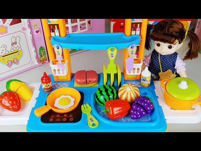 Baby doll Carrier cart kitchen and food cooking toys play house story - ToyMong TV 토이몽