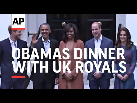 Obamas arrive for dinner with UK Royals