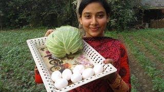 Cabbage Egg Fry Recipe | Badhakopi & Dim Bhaja | Cooking By Street Village Food