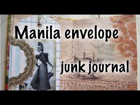 Manila envelope junk journal - sewing themed