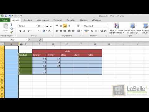 Microsoft Excel 2010 - Mise en forme de tableaux #E04