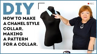 DIY: How to make a Chanel style collar. Making a pattern for a collar.