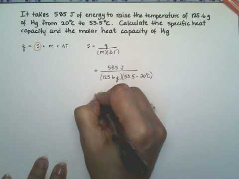 Calculate the specific heat capacity and the molar heat capacity of Hg