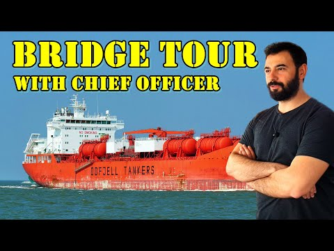 TOUR OF A SHIP - NAVIGATION BRIDGE - ON LPG TANKER WITH CHIEF OFFICER