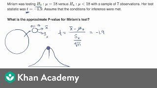 Using TI calculator for P-value from t statistic | AP Statistics | Khan Academy