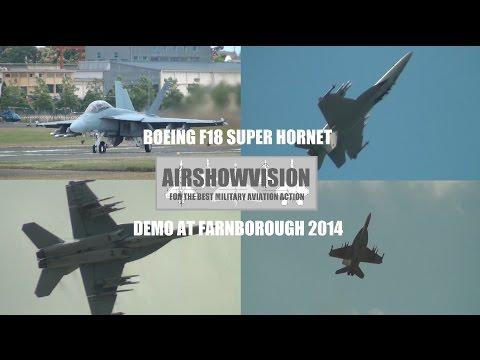 US NAVY F18 SUPER HORNET DEMO - FARNBOROUGH 2014 (airshowvision)