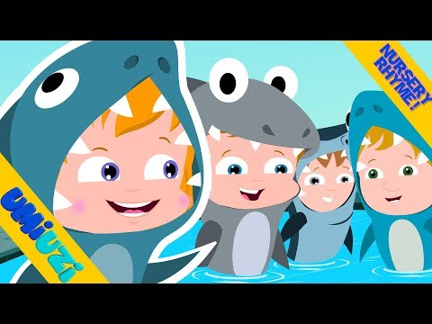 Umi Uzi | Five Hungry Sharks | Halloween songs for kids | Cute Halloween videos | scary rhymes
