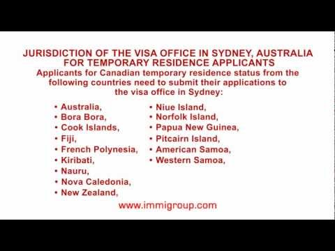 Jurisdiction of the visa office in Sydney, Australia for temporary residence applicants