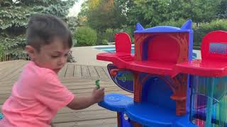 PJ Masks Headquarters Playset Toys Unboxing And Playing With Catboy Gekko Owlette