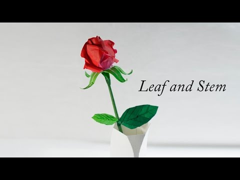 How to make Origami Leaf and Stem for flowers (Henry Phạm)
