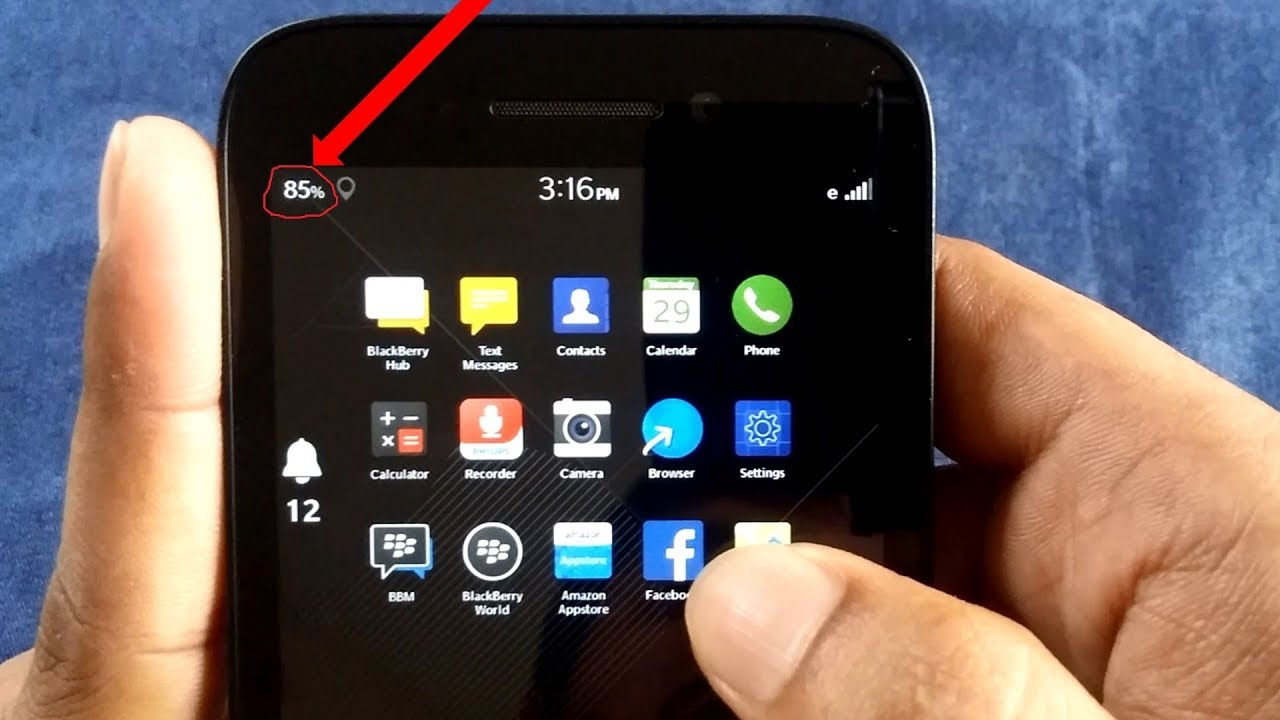 How to get battery percentage indicator on Blackberry | Status bar