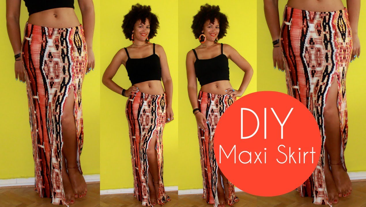 DIY Maxi Skirt with a Slit Side | Sewing For Beginners - YouTube