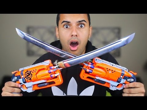 MOST DANGEROUS NERF MOD OF ALL TIME!!! (EXTREME NERF GUN KATANA MOD!!) *KATANA BAYONETS*