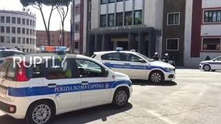 Italy: Police Cars Parade In Front Of Rome Hq In Tribute To Slain Officer