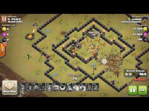 Clash of Clans (COC) Golem Valkyrie Wizard (GoVaWi) Attack Strategy for TH9