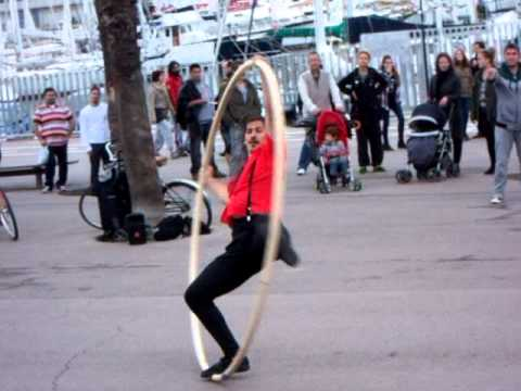 cool street performers on barcelona's waterfront
