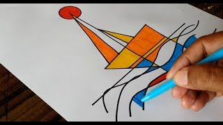 Abstract / Sail Boat / Drawing & Coloring / Easy & Fun / Color markers / Demonstration