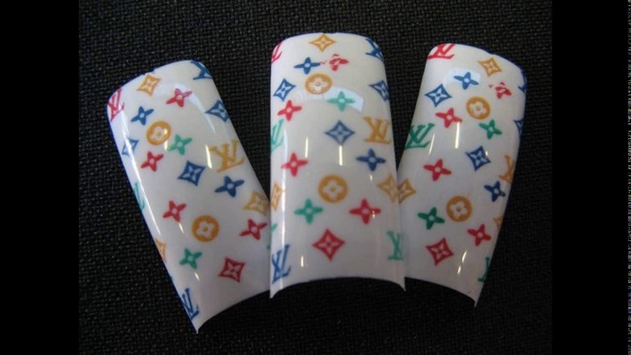 Louis vuitton designer nail tips - YouTube