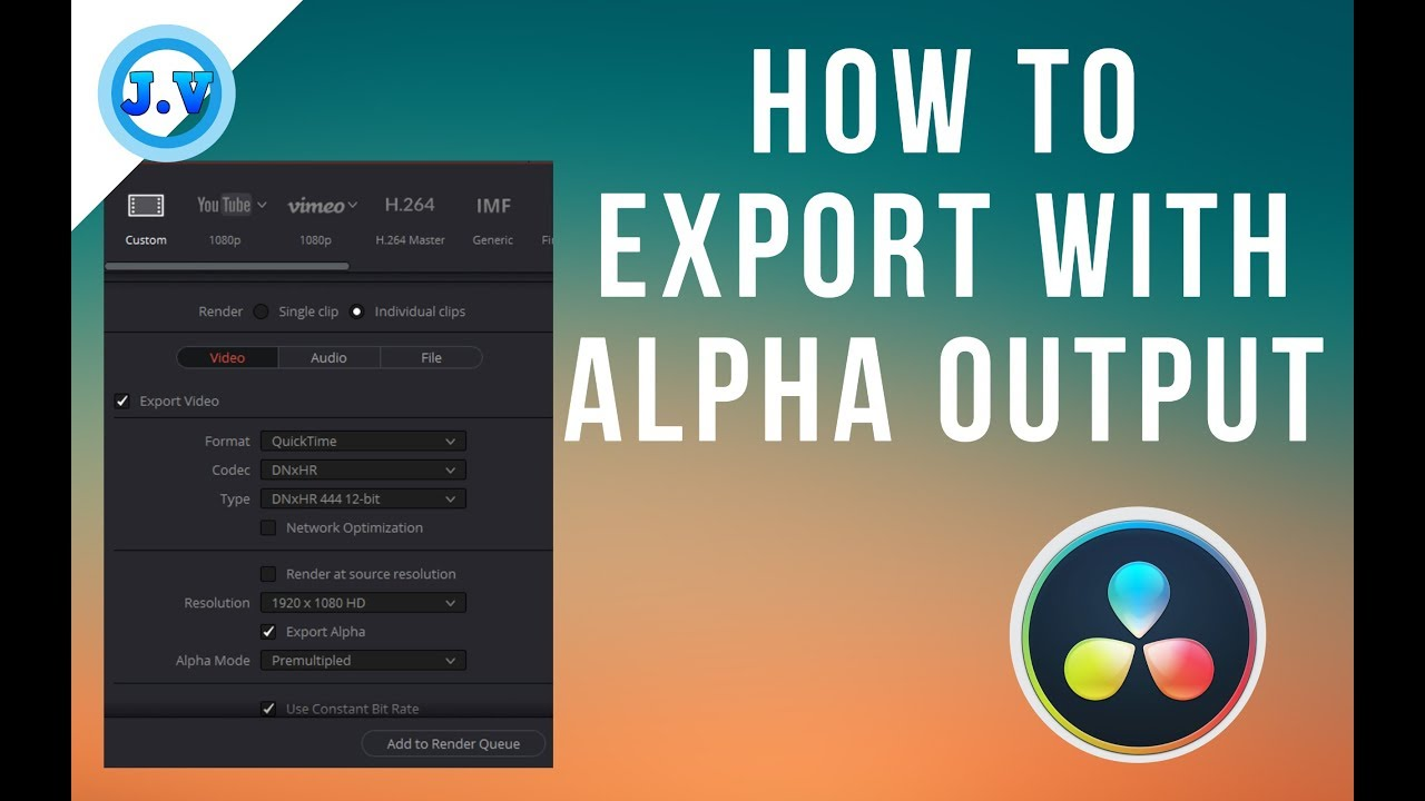 How to export a video with alpha output in Davinci Resolve 15