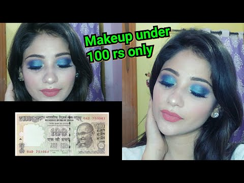 100 Rs MAKEUP CHALLENGE || Full Face Makeup || Peacock Smokey Eyes || Shy Styles