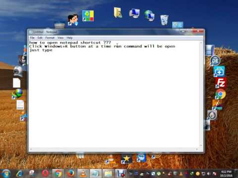 how to open notepad shortcut