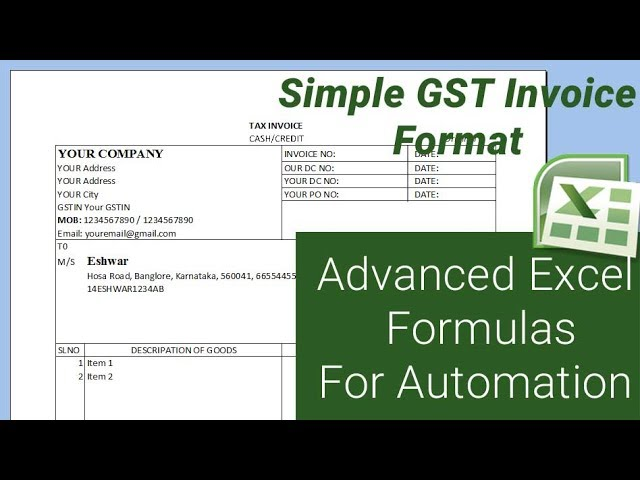 Simple Gst Invoice Format With Advanced Excel Formulas For Automation Microsoft Excel Tutorial Youtube