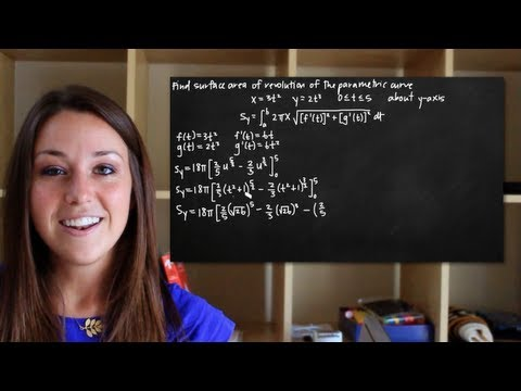 Surface area of revolution of a parametric curve rotated about the y-axis (KristaKingMath)