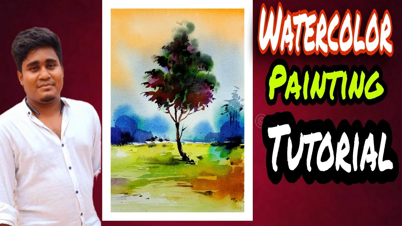 Watercolor Painting Tutorial For Beginners. Easy Watercolor Landscape Painting.