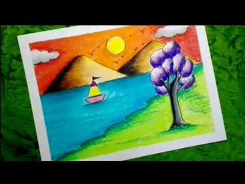 How to draw a scenery for kids using oil pastels, Scenery for kids, mountain, trees, river, sun