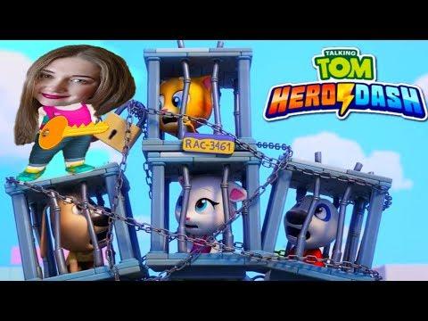 ГОВОРЯЩИЙ ТОМ ПОГОНЯ ГЕРОЕВ Соревнование АНДЖЕЛА VS ТОМ Talking Tom Hero Dash #5