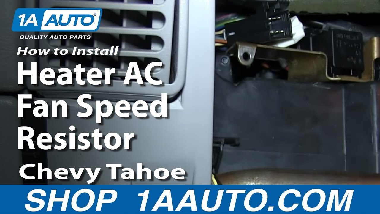 How To Install Replace Heater Ac Fan Speed Resistor 1996 99 Chevy 1994 S10 Blazer Fuse Box Tahoe