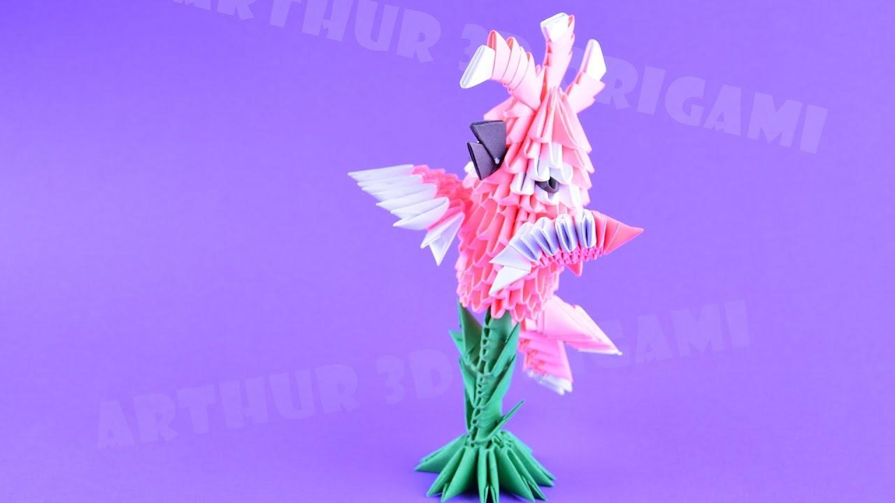 Оригами из модулей Молуккский какаду, попугай ♡ Птица из ...