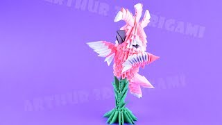 оригами из модулей Молуккский какаду, попугай  Птица из бумаги  Самоделка