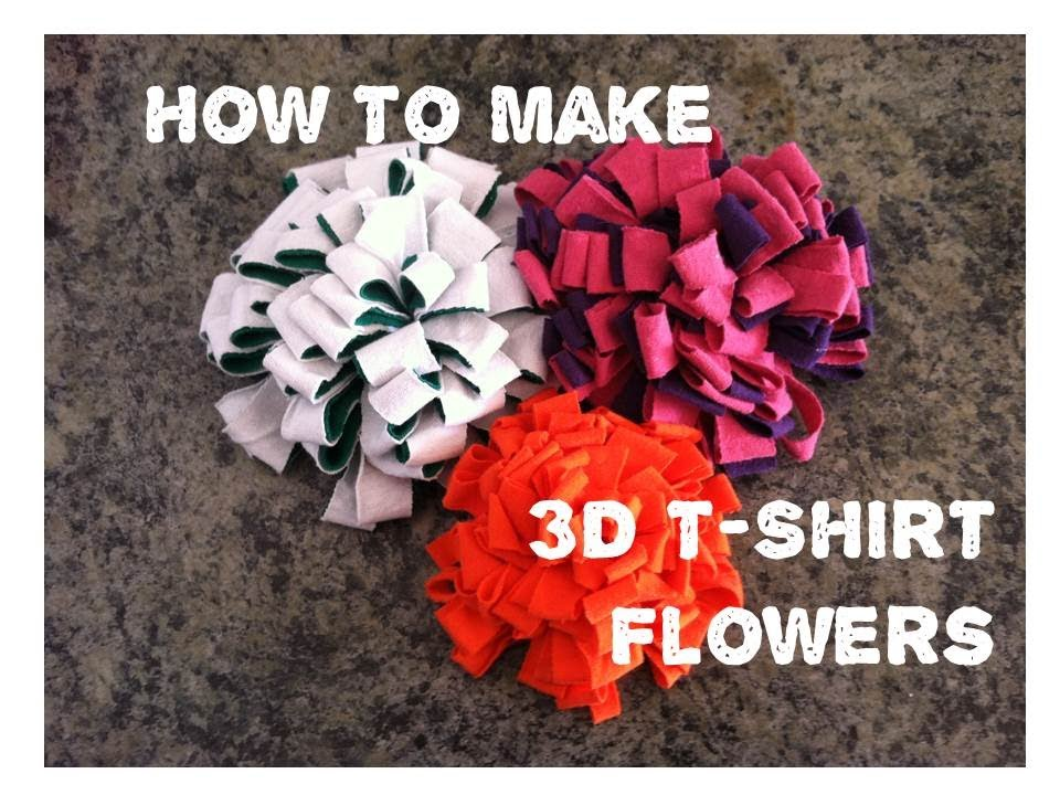 How to make 3d flowers from old t shirts youtube for How to create a t shirt