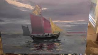 Корабль в море, импрессионизм Мастер класс Художник Игорь Сахаров