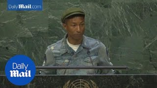 Pharrell reminds kids to be happy while speaking at the UN - Daily Mail