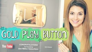GOLD PLAY BUTTON UNBOXING!! 1 MILLION SUBSCRIBERS // SoCraftastic