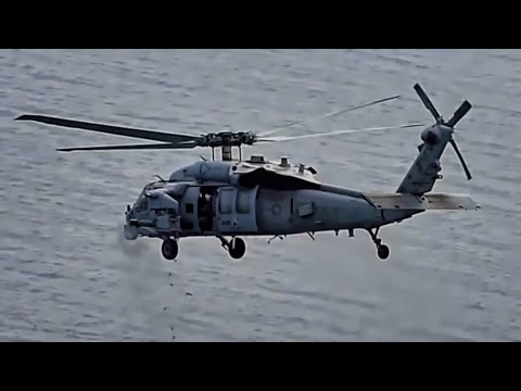 MH-60 Seahawk Helicopter Shoots Down Target Drone