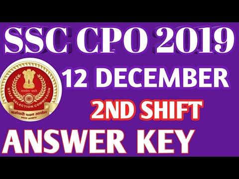 SSC CPO 2019 ANSWER KEY 12 DECEMBER  2nd SHIFT /SSC CPO 2019 DEC 12 2nd SHIFT /SSC CPO 2019 ANSWER K
