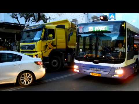 Tel Aviv traffic jam - buses and trucks - תל אביב-יפו - Transport -