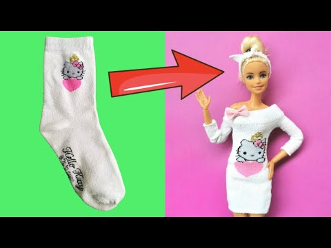 How to Make BARBIE Dress with Socks | DIY Barbie Clothes Hacks