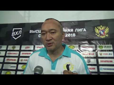 Главный тренер ХК «Алтай Торпедо» Ерлан Сагымбаев после победы над ХК «Арлан»