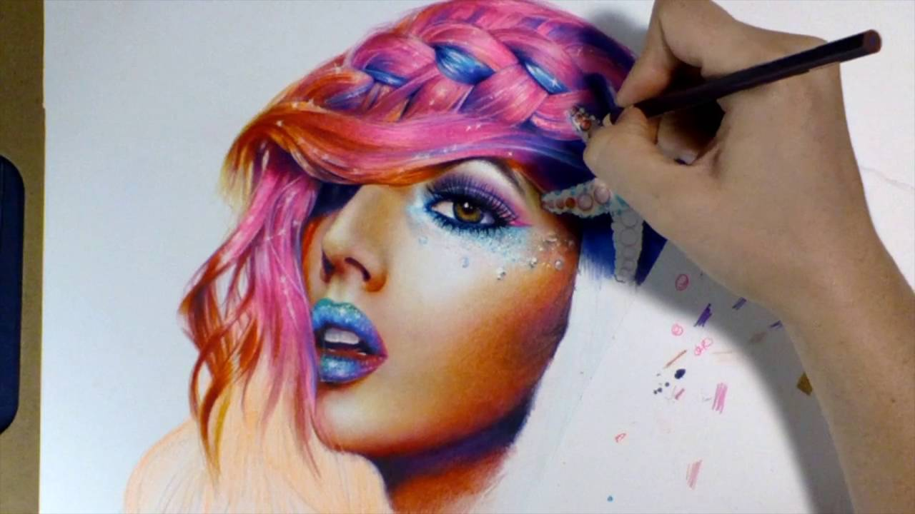 colored pencil rainbow hair drawing