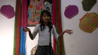 Kavya singing Twinkle Twinkle little star in various accents