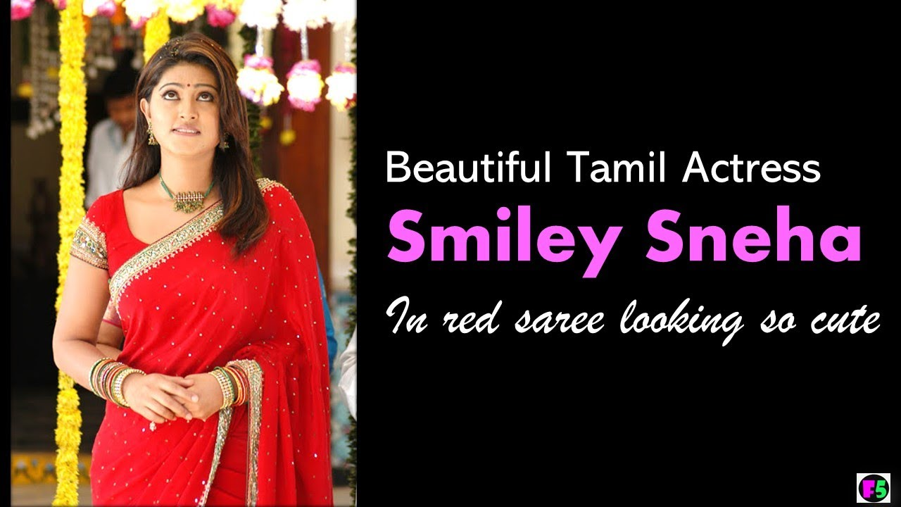 Beautiful Tamil Actress Smiley Sneha In Red Saree Looking So Cute Youtube