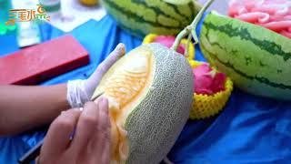 中国高级水果雕刻师三毛用哈密瓜雕刻鲤鱼作品分享